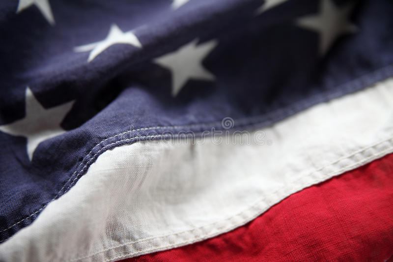 Close-up American flag. Detail of an old American flag suitable for a background stock photos