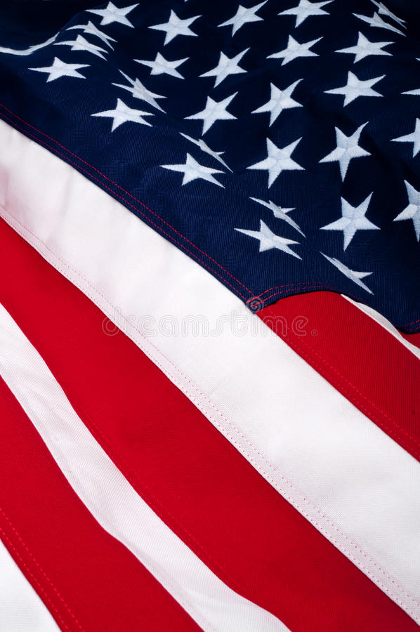 Close up of an American Flag. Showing both stars and stripes royalty free stock photos