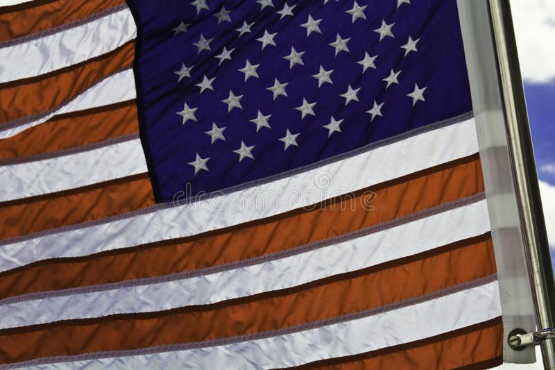 American Flag waving in WInd stock photos