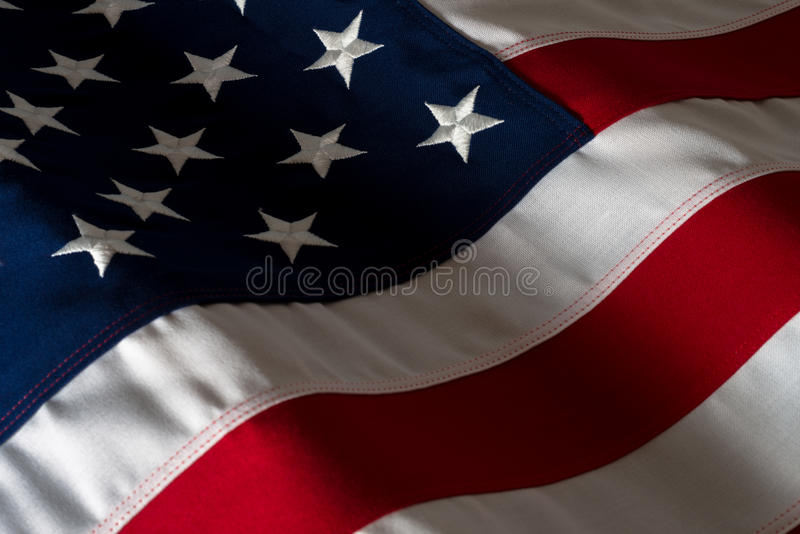 Close Up American Flag. Moody Lighting stock images