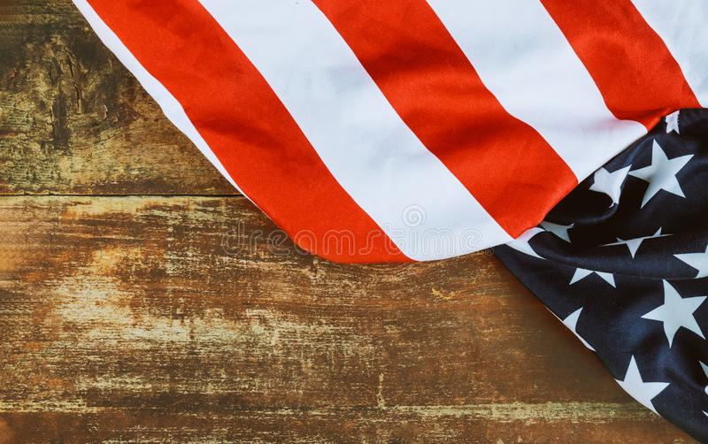 Closeup of American flag on old wooden board independence day stock photos