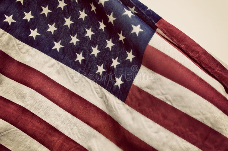 Closeup of the American flag stock photography