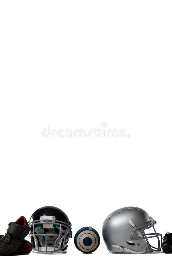 Close up of American football gears. On white background stock images