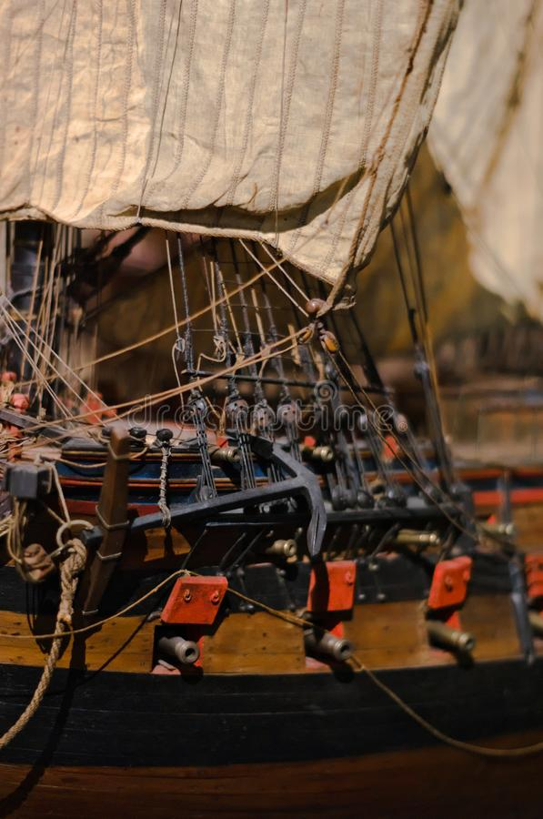 Close-up of an anchor of a wooden model boat. Museum of Aquitaine, Bordeaux, France stock photos