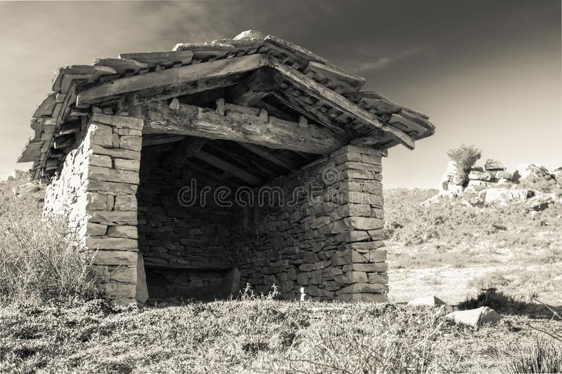 Download Close Up Ancient Beautiful Stone Sheep Barn In Countryside Mountains Black And White Sepia