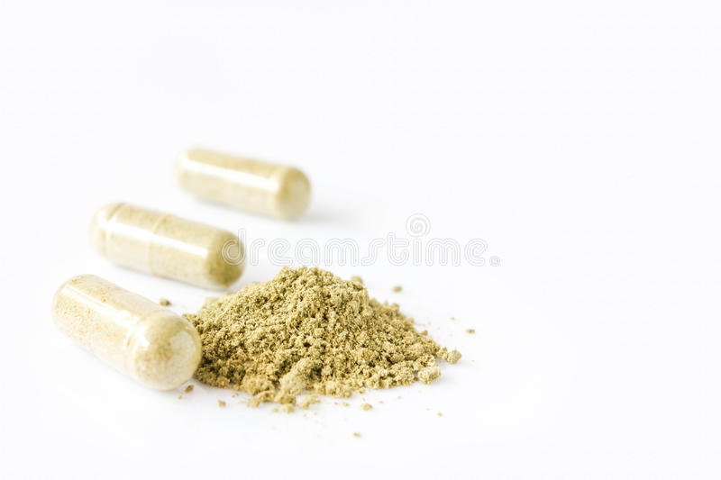 Close up andrographis paniculata herbal antipyretic capsules royalty free stock photo