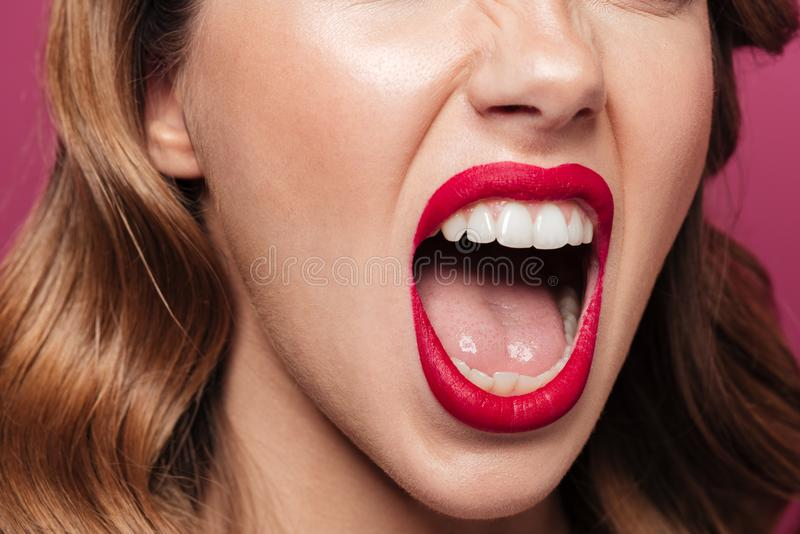 Close up of angry woman screaming isolated stock images