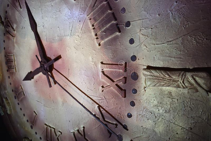 Close up of an antique clock and the time is almost midnight. Concept of time,the past or deadline stock photography