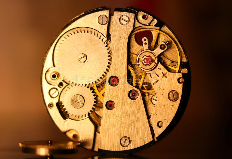 Close up of antique watch mechanism royalty free stock image