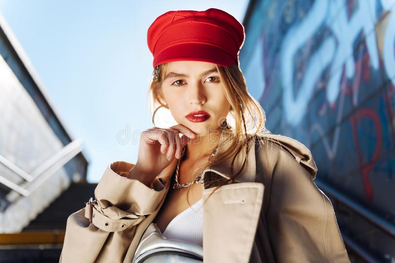 Close up of appealing photo model wearing stylish accessories stock image
