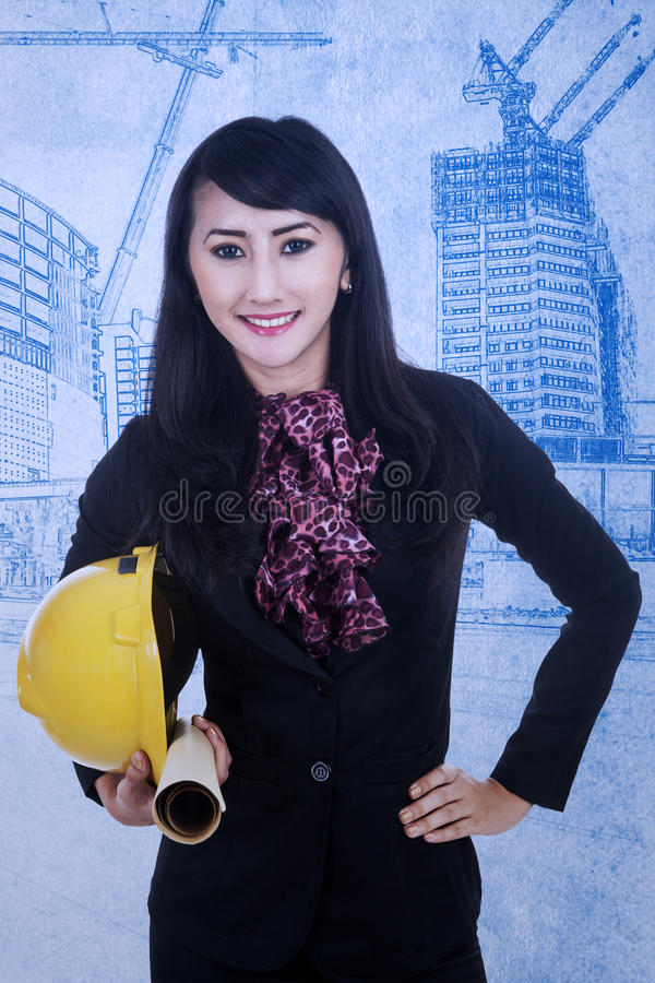 Close-up Architect Holding Helmet Stock Photos