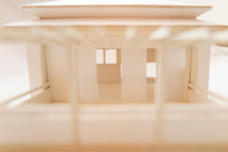 Close-up of architectural model made from cardboard design stock photo