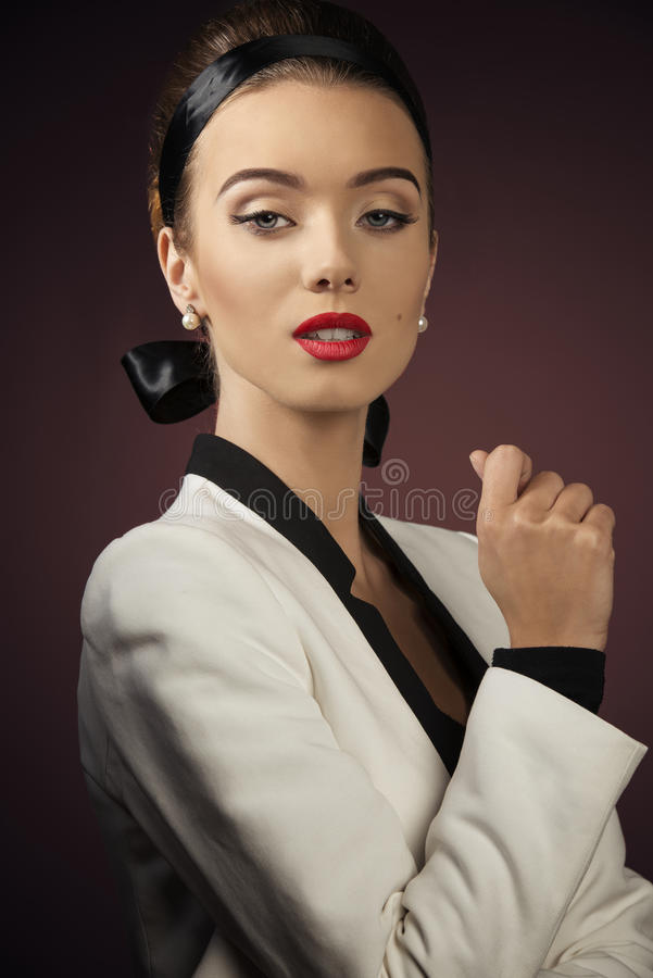 Close-up of aristocratic woman stock photography