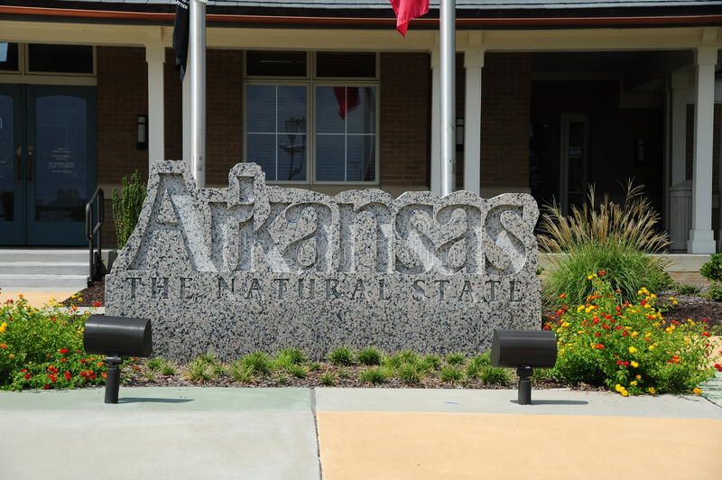 Arkansas Welcome Center Sign. Arkansas is a state located in the Southern region of the United States. Its name is of Siouan derivation, denoting the Quapaw royalty free stock photo