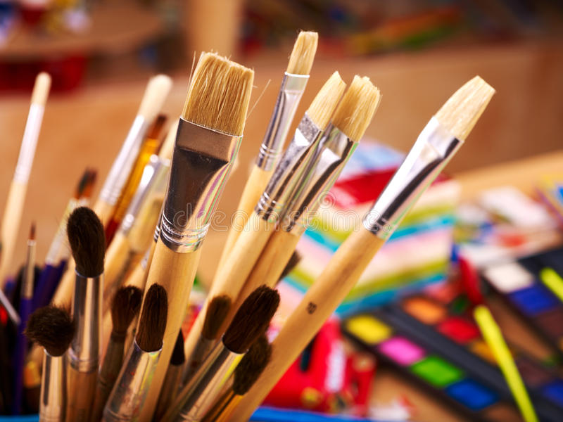 Close up of art supplies. royalty free stock photography
