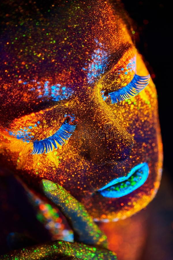 Close up art uv portrait royalty free stock photography