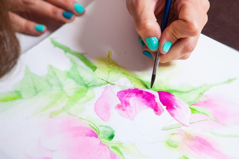 Close-up of the artist draws royalty free stock photo