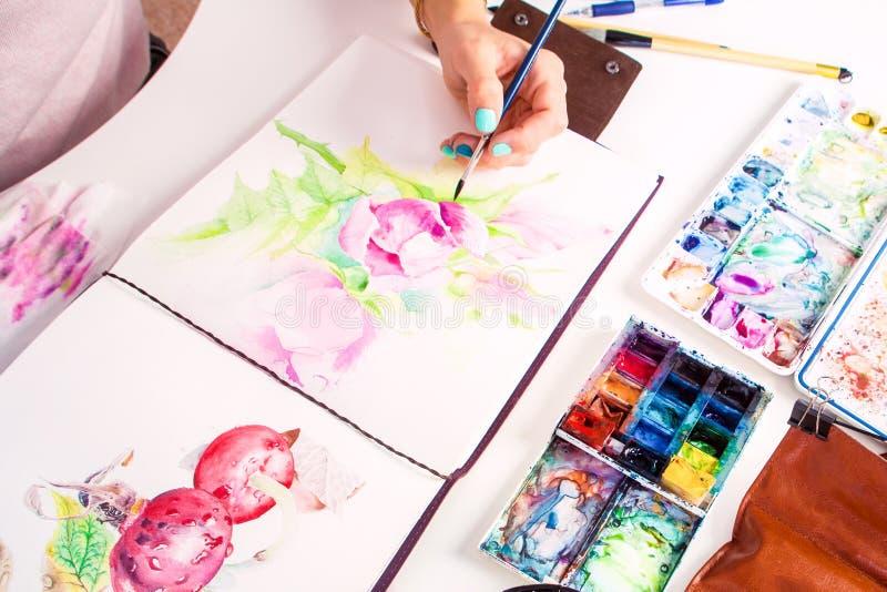 Close-up artist paints royalty free stock photos