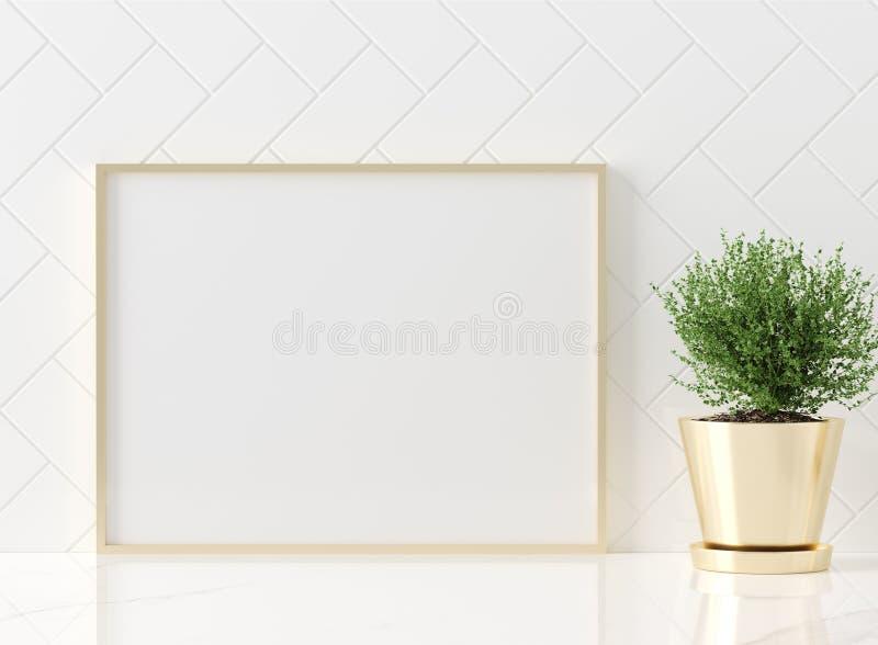 Close-up ascendente trocista do quadro do cartaz no interior da cozinha, estilo americano ilustração stock