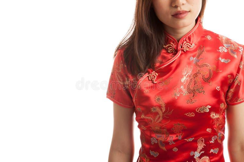 Close up of Asian girl in chinese cheongsam dress. stock photo