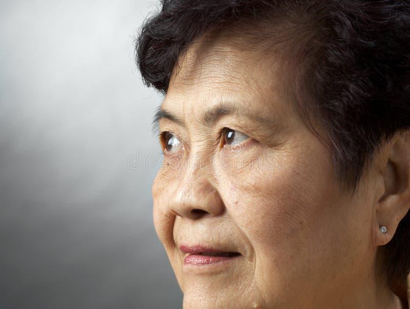 Close-up asian senior woman stock photography
