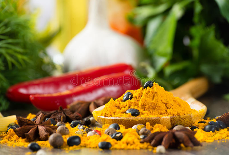 Close-up of Asian spices stock photography