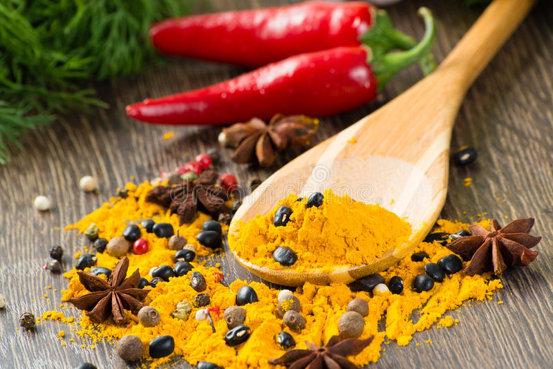 Close-up of Asian spices stock image