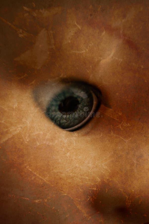 Close up assustador do olho da boneca fotos de stock