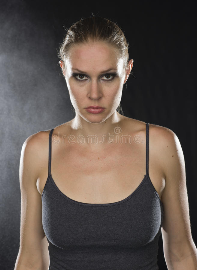 Free Close Up Athletic Woman Looking Fierce At Camera Stock Image - 59577841