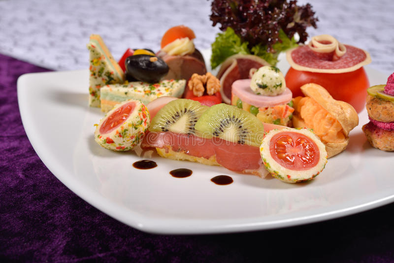 Close up of atipasto and catering platter with different appetiz royalty free stock images