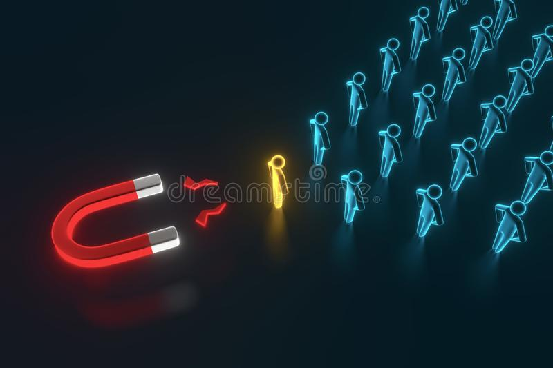Close-up attracting blue Human Figures With Horseshoe Magnet On blue Background. 3D rendering. Close-up attracting blue Human Figures With Horseshoe Magnet On stock illustration