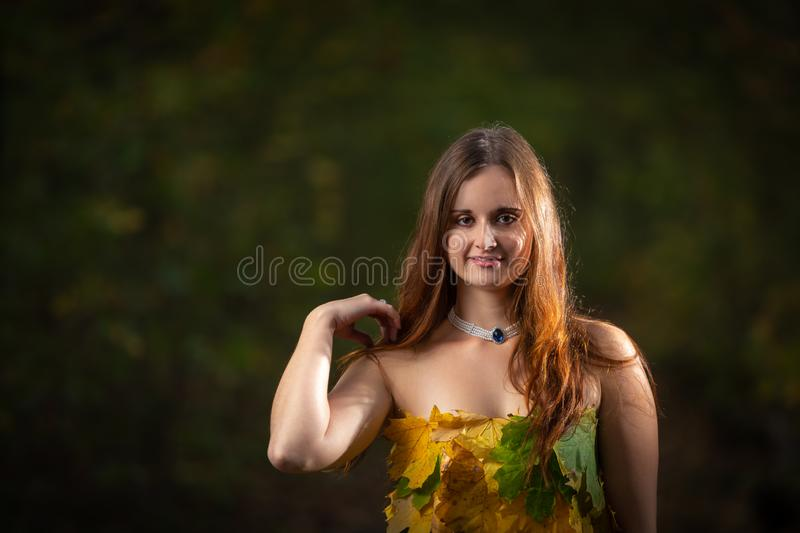 Close up on attractive young girl with long hair wearing dress made from colorful leaves in the autumn forest royalty free stock photo
