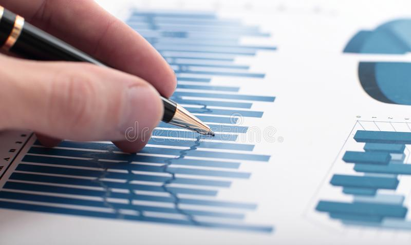 Close-up of the audit of the financial data. stock photography