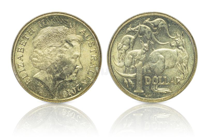 Close up - Australian dollar coins islated on white background with clipping path. Reflection coin on white background. I. Close up - Australian dollar coins stock photography