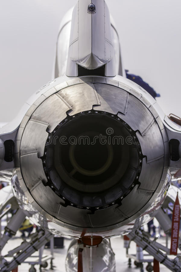 Close up back view of jet engine royalty free stock photography
