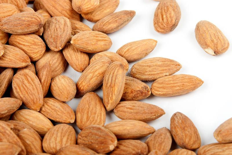 Close-up background almonds stock photo
