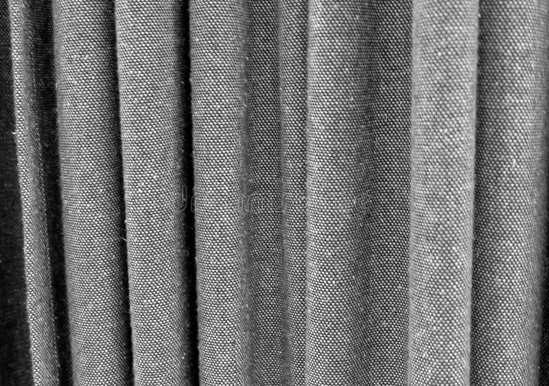 Close Up Background of Black Curtain Texture. Fabric Texture Background, Close Up of Black Denim Curtain royalty free stock photo