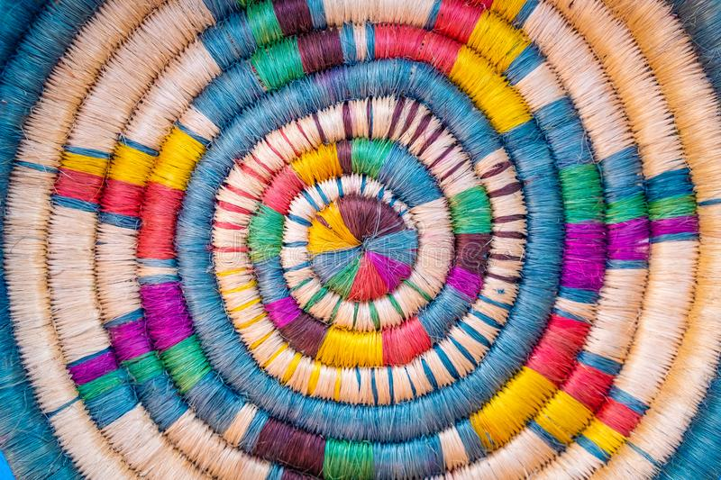 Close-up background, multi-colored yarn stock image