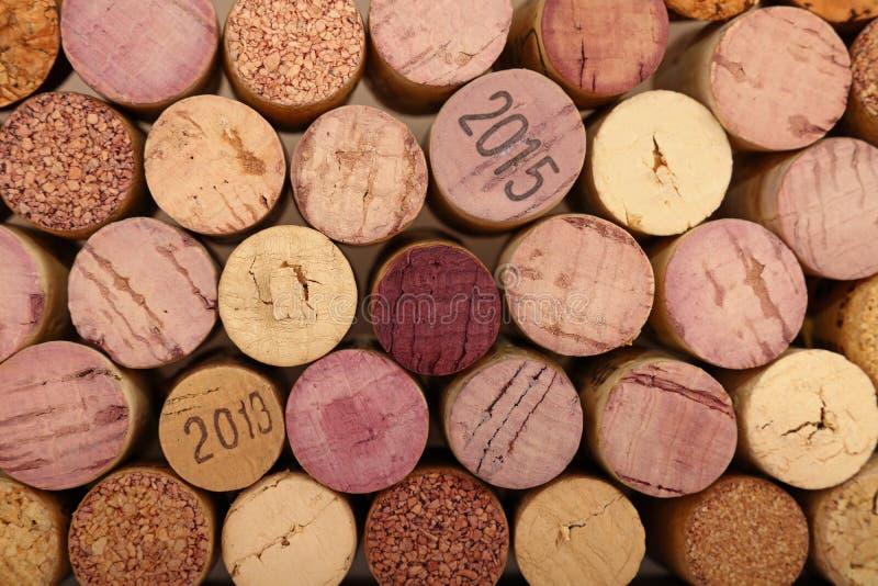 Close up background of used wine corks stock photo