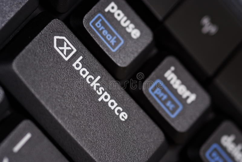 Close up of a backspace key. Close up of abackspace key from a black computer keyboard stock photos