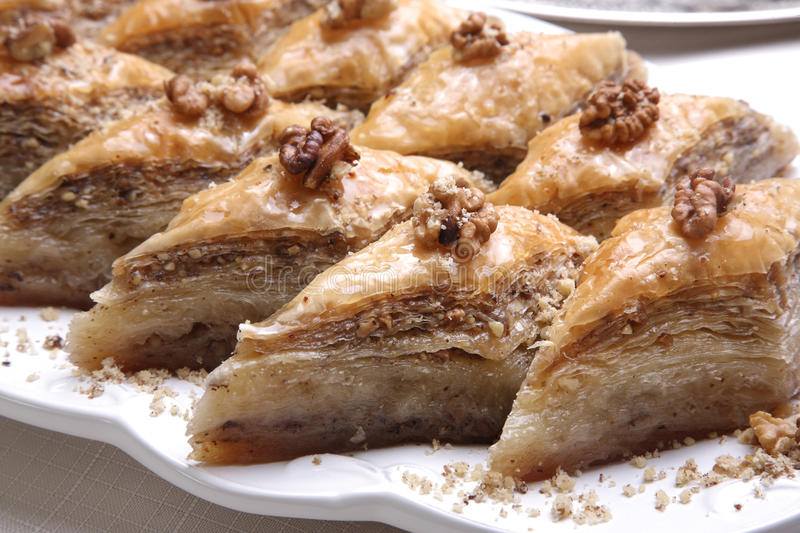 Close up of Baklava. Close up of special Baklava preparation with 80 layer royalty free stock photos