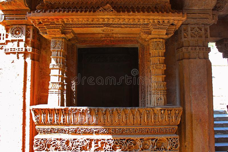 Close up of a balcony with intricate patterns engraved on the borders. Adalaj Stepwell, Ahmedabad, Gujarat. India royalty free stock photos
