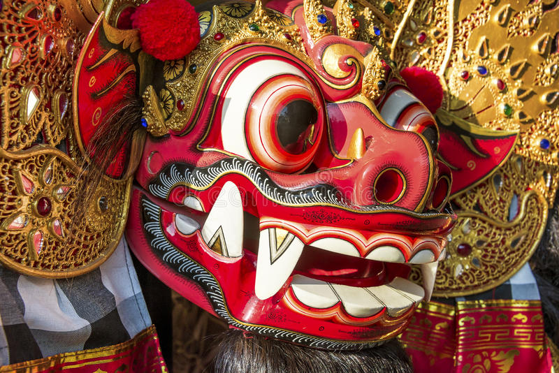 Close Up Balinese Barong. Traditional Balinese Barong Mask ready for a performance royalty free stock photography
