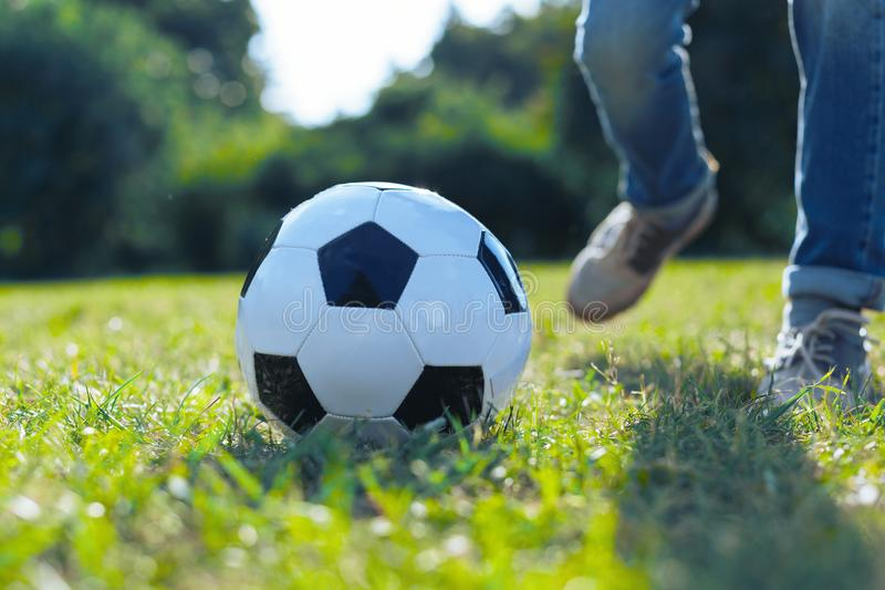 Close up of ball lying in grass stock images