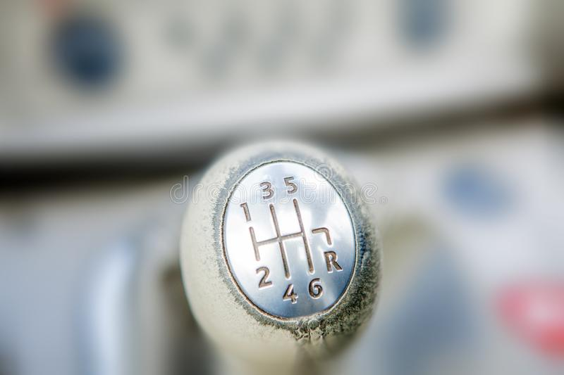Close-up of Ball shift knob automatic transmission. Closeup car gearbox with blurred background. Switching in six steps and stock photos