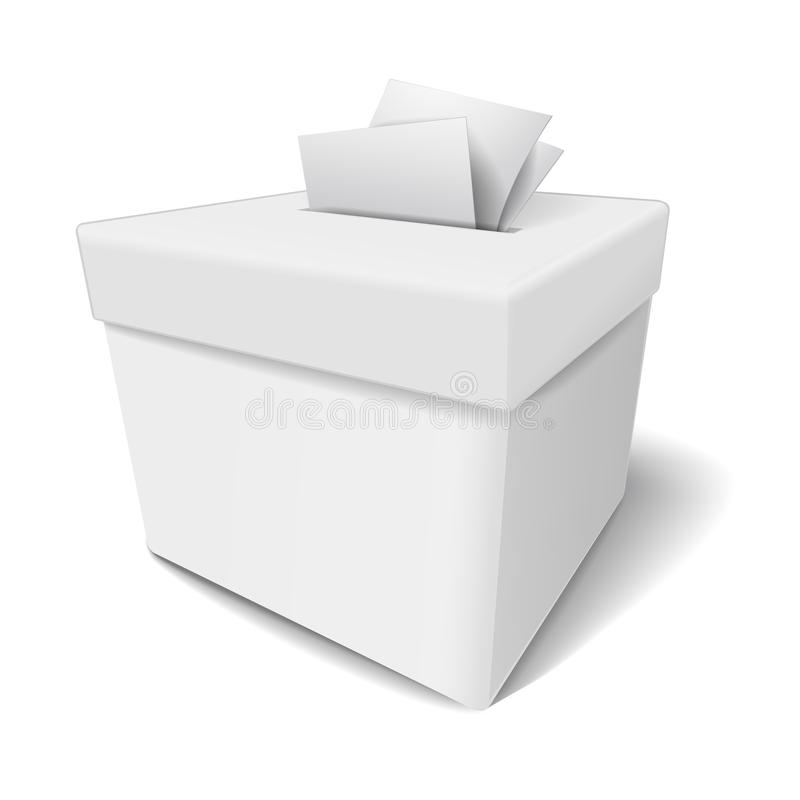 Close up of a ballot box and casting vote. On white background vector illustration
