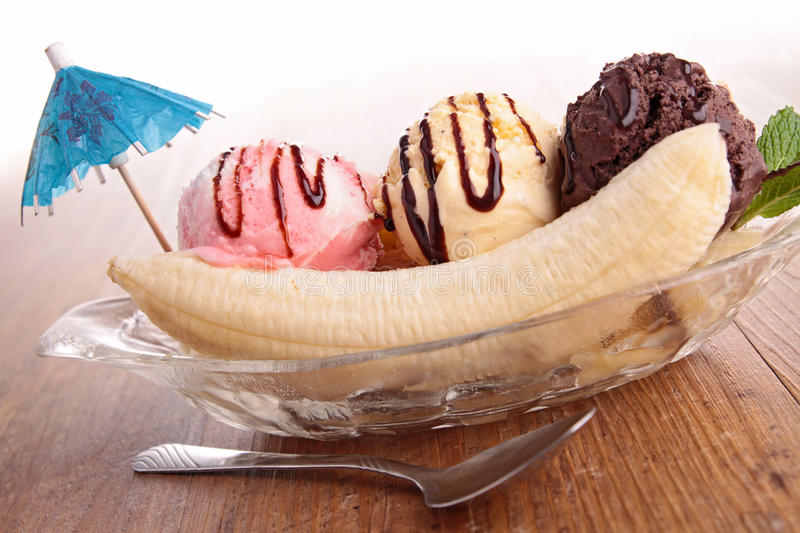 Banana split. Close up on banana split stock photo