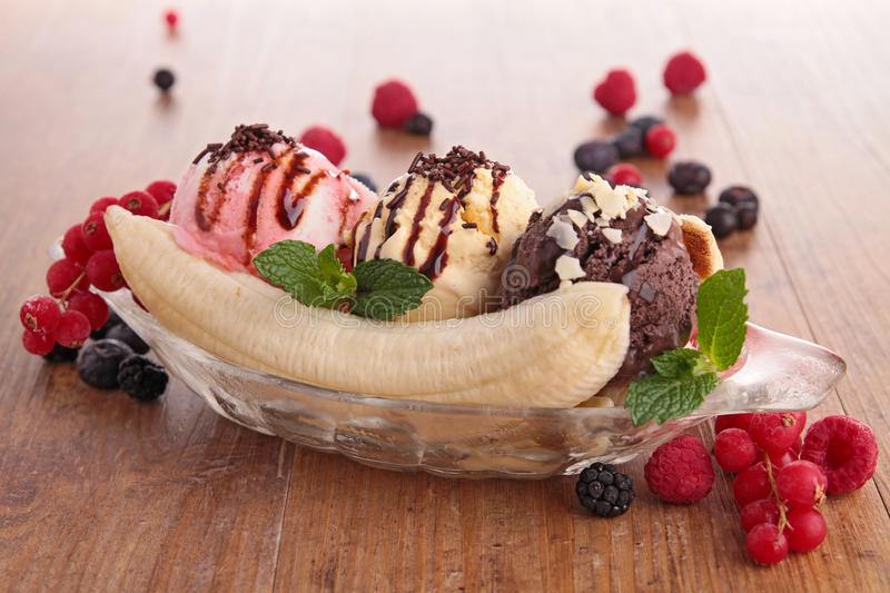 Banana split. Close up on banana split and berries stock image