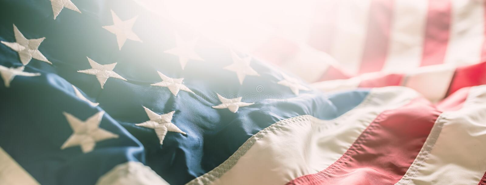 Close-up banner of american flag stars and stripes.  royalty free stock photography