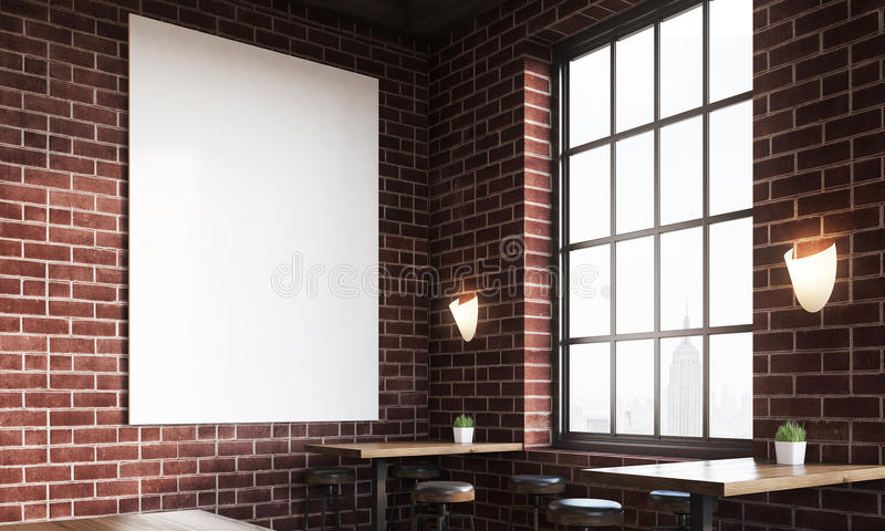 Close up of bar with poster and large windows. Close up of bar interior with stools, tables and large vertical poster on brick wall. Concept of pub culture. 3d royalty free illustration